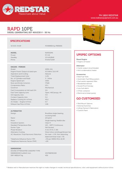 RAPD 10PE Diesel Generating Set