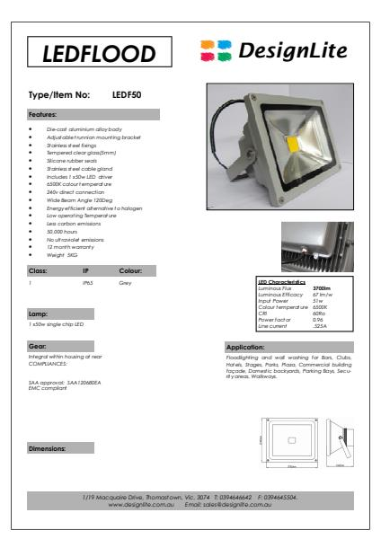 DesignLite LED Flood LightsProduct Information