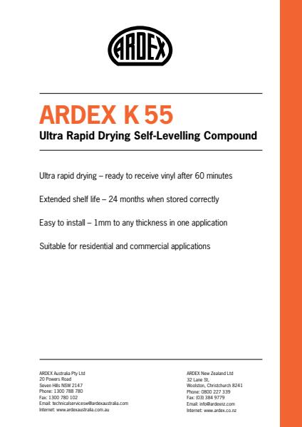 ARDEX K 55 Rapid Drying Levelling & Smoothing Compound