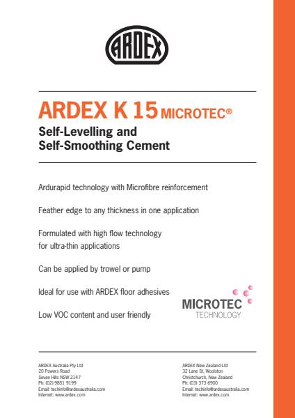 ARDEX K15 Micro Rapid Drying Self Levelling Smoothing Compound