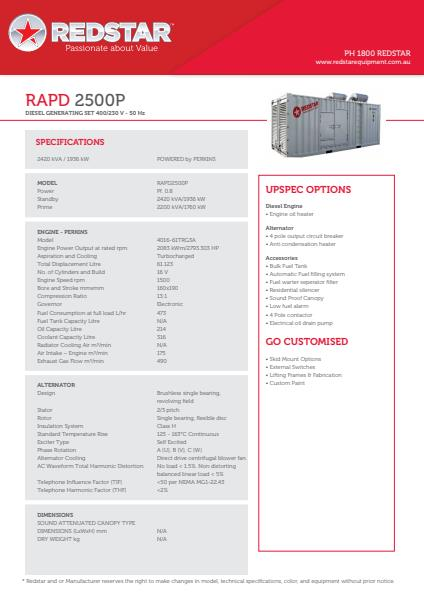 RAPD 2500P Diesel Generating Set