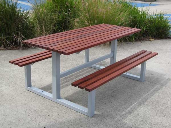 A heavy duty table and seat picnic unit from DO Smith & Sons