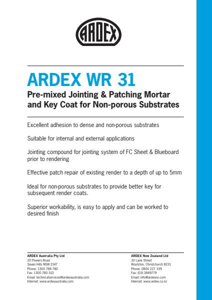 ARDEX WR 31 Pre-mixed Jointing & Patching Mortfr and Key Coat for Non-porous Substrates