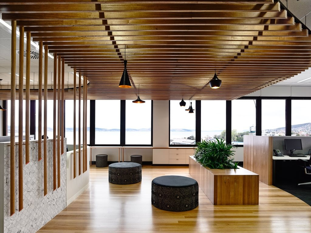 Pendant lights add decorative touch to refined Tassal Office by Preston Lane architects
