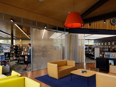 Spacemaile deterrent screen at Sumner library and community hub by Athfield Architects