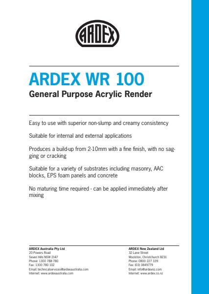 ARDEX WR 100 General Purpose Acrylic Render