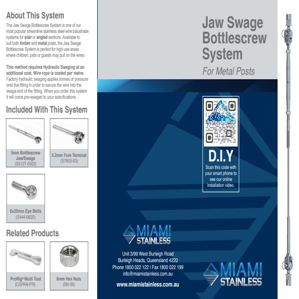 Jaw Swage bottlescrew flip toggle system metal brochure