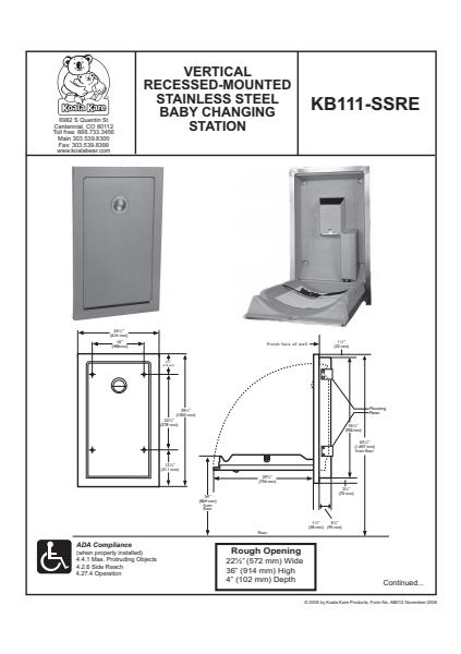 Vertical Recessed Mounted Stainless Steel Changing Station