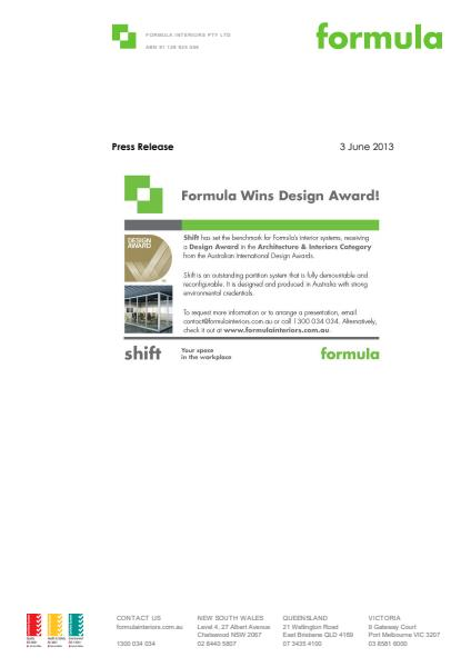 Design Award in the Architecture & Interiors Category