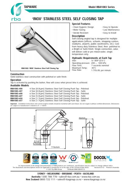RBA Commercial Tapware Product Guide