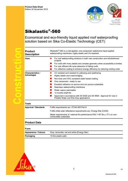 Sikalastic®-560 Product Sheet