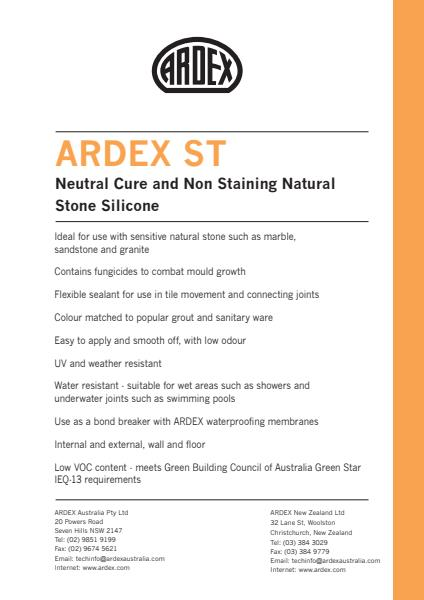 ARDEX ST Neutral Cure and Non Staining Natural Stone Silicone