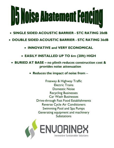 Noise Abatement Fencing Specifications