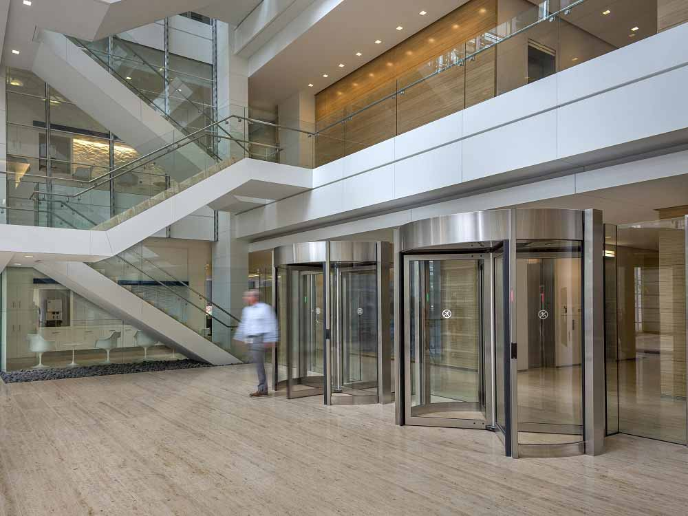 Boon Edam's latest Tourlock 180+90 revolving door system