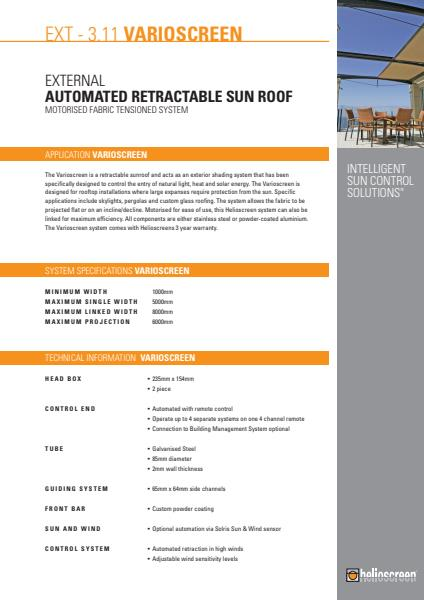 Varioscreen Automated Retractable Sun Roof Brochure