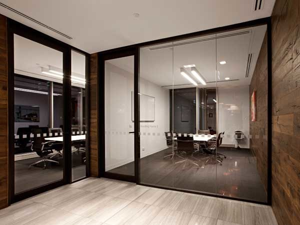 Criterion's aluminium partitions and sliding track system at the new Asciano office
