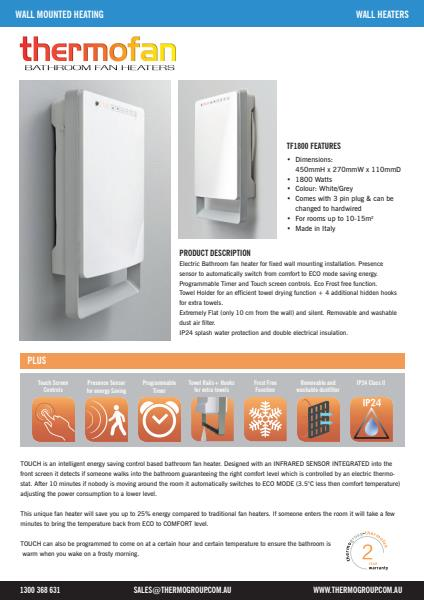 Thermofan 1800 specification sheet