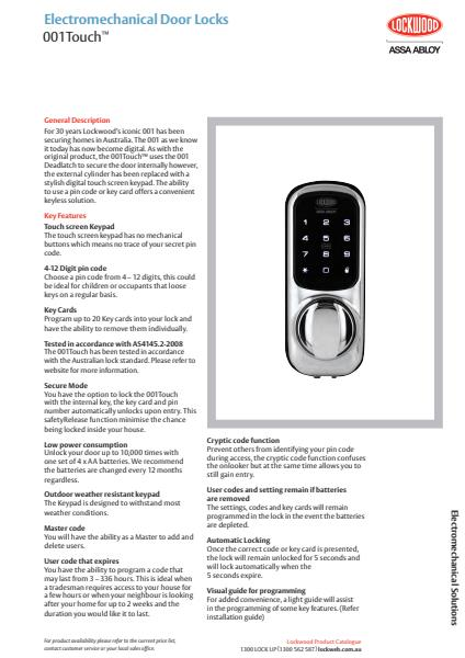 Electromechanical Door Locks 001Touch™
