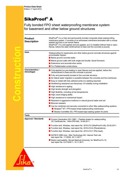 SikaProof A Product Sheet