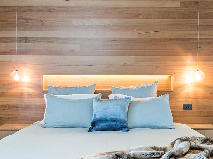 Residential Bedroom Timber Cladding Back Wall Integrated Shelving Lighting