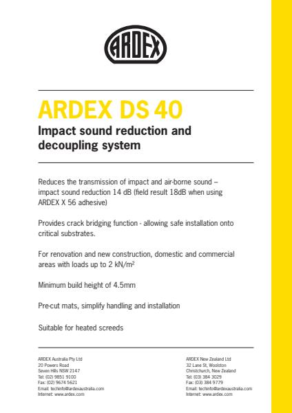 ARDEX DS 40 Impact Sound Reduction and Decoupling System