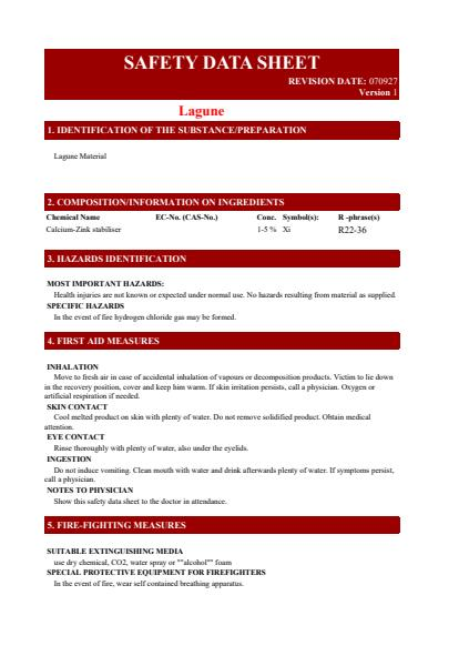 Lagune Material Safety Data Sheet