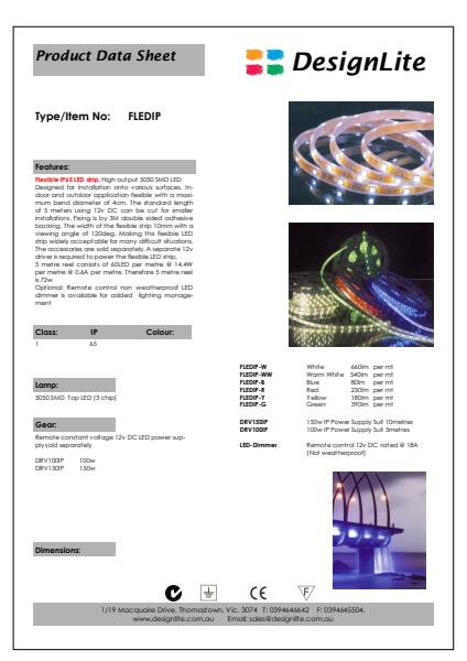 DesignLite Flexible Exterior LED Strip Product Information