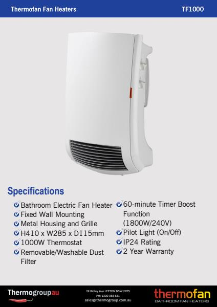 Thermofan 1000 specification sheet