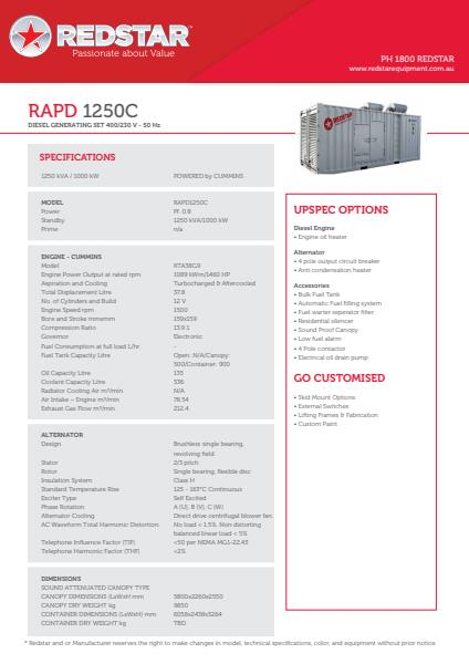 RAPD 1250C Diesel Generating Set