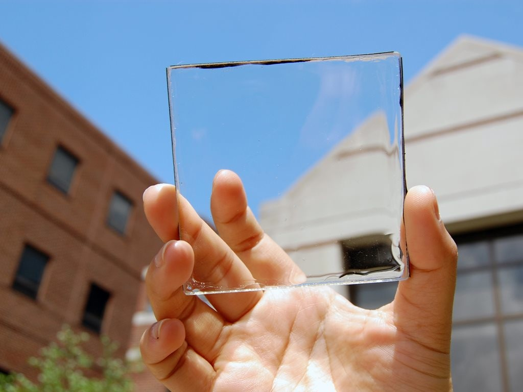 According to researchers at Michigan State University (MSU), transparent solar windows could become a massive source of electricity if they were to be adopted across the entire built environment. Image: Michigan State University