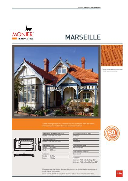Monier Marsielle Data Sheet