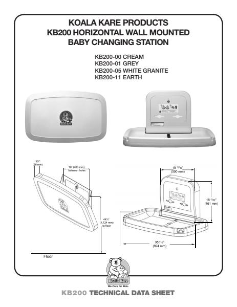Koala Kare Horzontal Wall Mounted Baby Changing Station