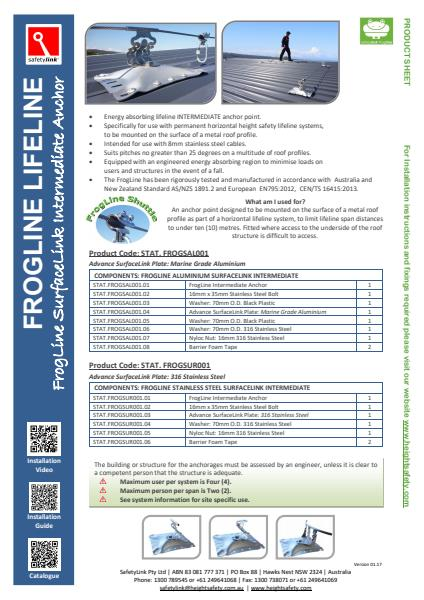 Frogline Lifeline product sheet