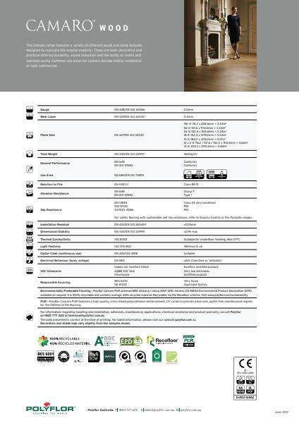 Polyflor Camaro flooring collection performance properties