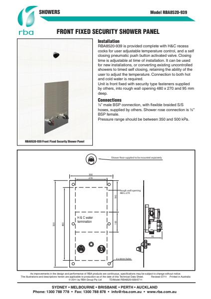 Front fixed security shower panel
