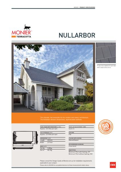 Monier Nullarbor Data Sheet