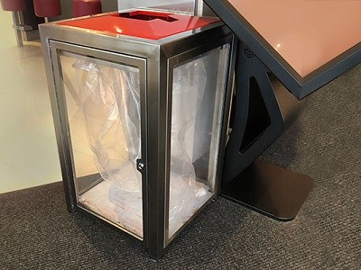 Bin featuring clear polycarbonate walls