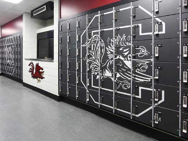 Foreman lockers at University of South Carolina Football Equipment Room