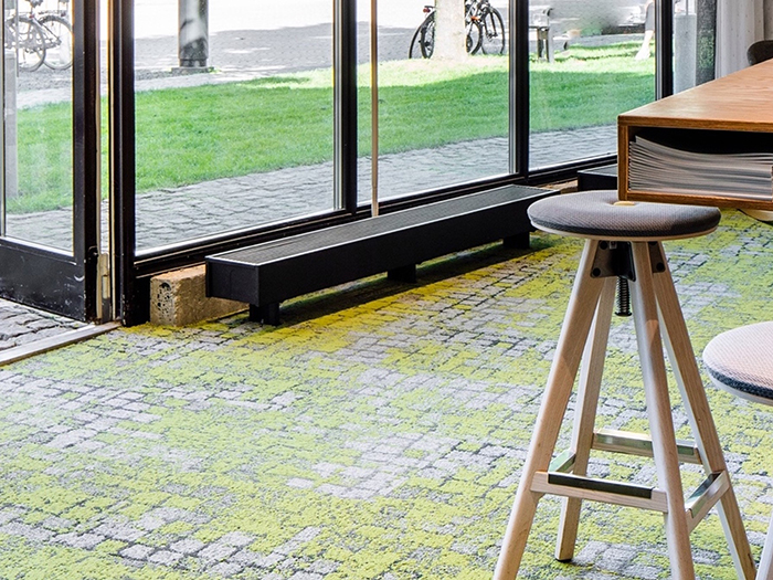 Green Grey Pattern Interface Carpet Commercial Interior