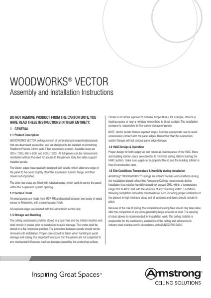 WoodWorks Vector Assembly and Installation Instructions