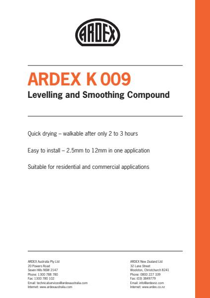 ARDEX K 009 Levelling and Smoothing Compound