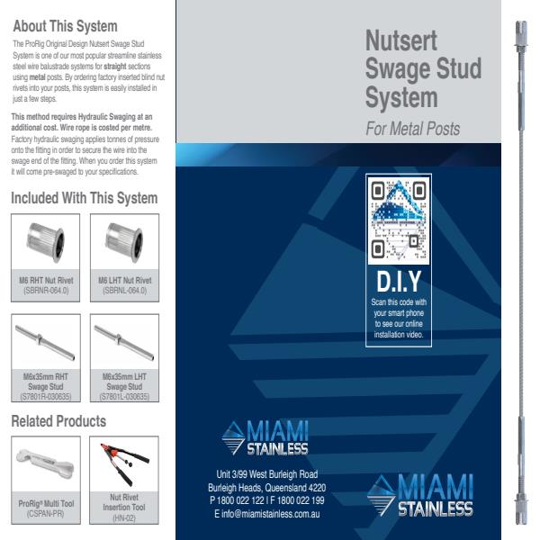Nut swage stud system metal posts