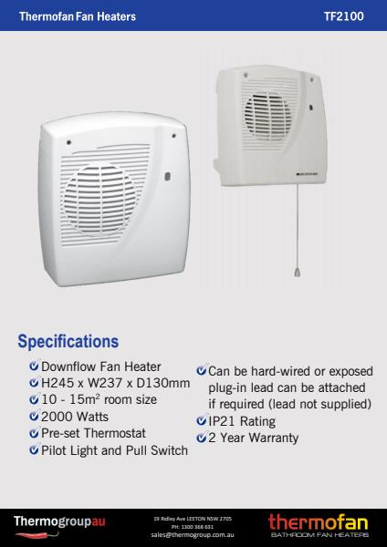 Thermofan 2100 specification sheet