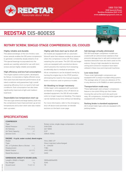 Redstar™ DIS-800ESS Compressor Hire Fleet