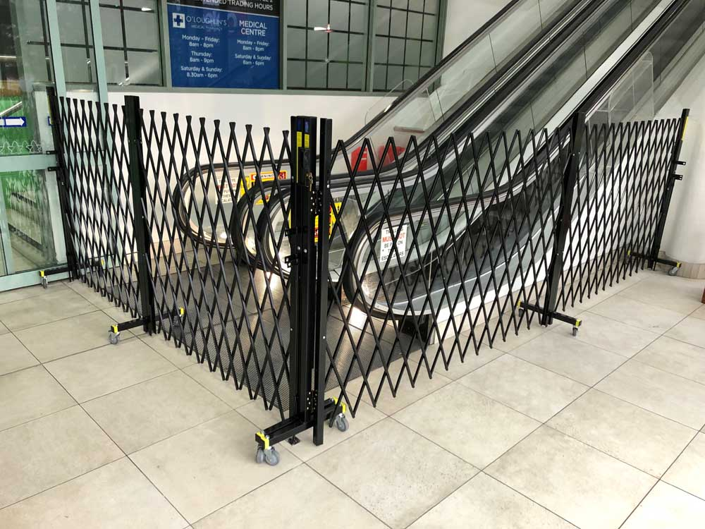 ATDC's barriers controlling public access through travellators and escalators