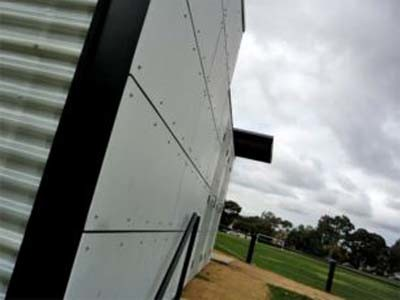 Plaspanel cladding at Alphington Sports Pavilion