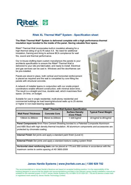 Thermal Wall Spec Sheet