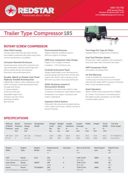 Trailer Type Compressor 185