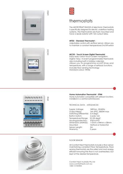 Thermostats brochure