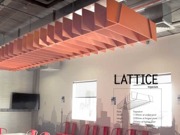 Quietspace Lattice is a range of suspended acoustic absorbing baffles